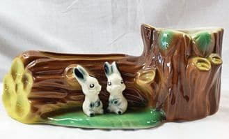 Hornsea Pottery Fauna, Two Rabbits By Tree Trunk