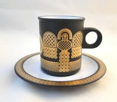 Hornsea Pottery Midas Demi-Tasse Coffee Cups and Saucers
