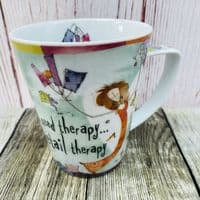 """Johnson Brothers Born to Shop Mug, """"I need therapy... retail therapy"""""""