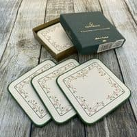 Johnson Brothers (Bros) Eternal Beau Boxed Set of 6 Square Coasters (Green Trim)