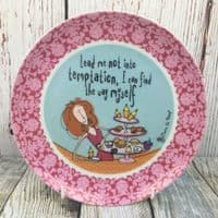 """Johnson Brothers. Born to Shop 8"""" Plate, """"Lead me not into temptation"""""""