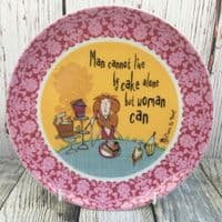 """Johnson Brothers. Born to Shop 8"""" Plate, """"Man cannot live by cake alone"""""""