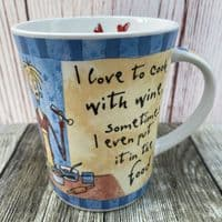 """Johnson Brothers. Born to Shop Mug, """"I love to cook with wine"""""""