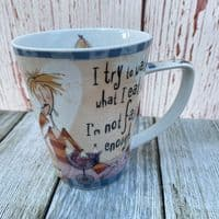 """Johnson Brothers. Born to Shop Mug, """"I try to watch what I eat"""""""