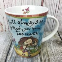 """Johnson Brothers. Born to Shop Mug, """"You'll always be my friend"""""""
