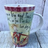 """Johnson Brothers. Born to Shop Tall Mug, """"I'm on a gin and tonic diet"""""""