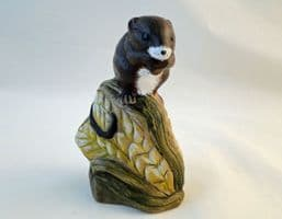 Poole Pottery Acrylic Painted Stoneware, Harvest Mouse on Corn