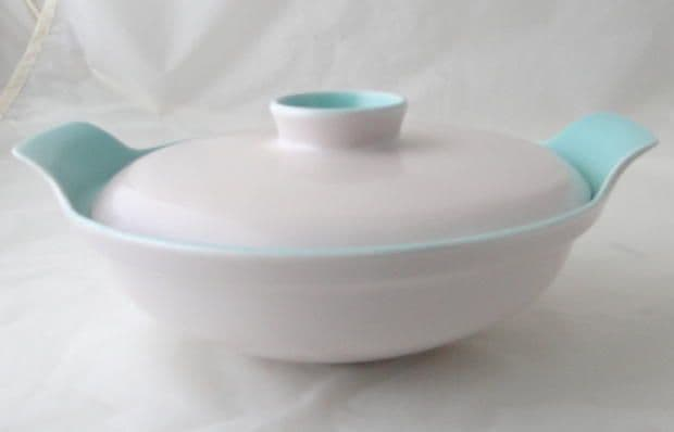 Poole Pottery Ice Green and Mushroom Lidded Serving Dish
