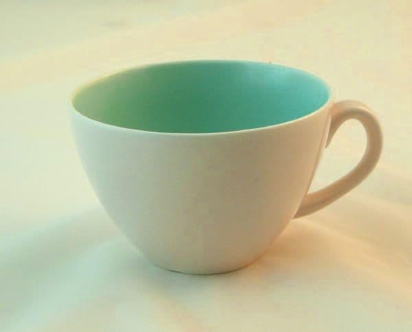 Poole Pottery Ice Green and Mushroom Wide Style Tea  Cups