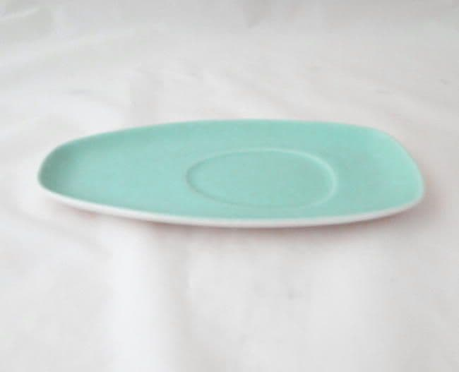 Poole Pottery Ice Green and Seagull Gravy Boat Stands/Saucers(Contour Shape)