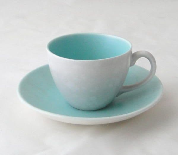 Poole Pottery Ice Green and Seagull Small Demi Tasse Coffee Cups and Saucers