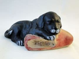 Poole Pottery Stoneware, Acrylic Painted Puppy with a Slipper