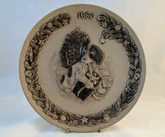 Poole Pottery Stoneware Christmas Plate, 1980, Tempation