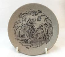 Poole Pottery Stoneware Plate, Mice Eating Blackberries
