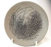 Poole Pottery Stoneware Plate, Two Harvest Mice