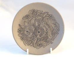 Poole Pottery Stoneware Plate, Two Rabbits in the Undergrowth