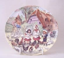 Poole Pottery Transfer Plate, Children Playing in Famyard