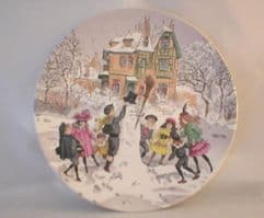 Poole Pottery Transfer Plate, Children Playing with Snowman