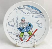 Poole Pottery Transfer Plate, Clown on Skis