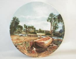 """Poole Pottery Transfer Plate, Constable's """"Boatbuilding Near Flatford Mill"""