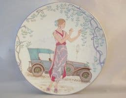 Poole Pottery Transfer Plate, Lady With Car (160)