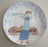 Poole Pottery Transfer Plate, Lady With Car (161)
