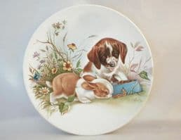 Poole Pottery Transfer Plate, Puppy and Rabbit