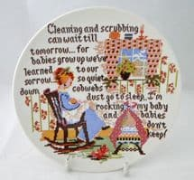 """Poole Pottery Transfer Plate, Sampler Series, """"Cleaning and Scrubbing"""