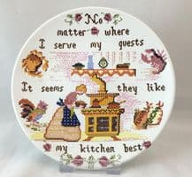 """Poole Pottery Transfer Plate, Sampler Series, """"No matter where I serve my guests"""""""