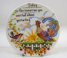 """Poole Pottery Transfer Plate, Sampler Series, """"Today is the Tomorrow"""""""