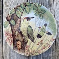 Poole Pottery Transfer Plate, Woodpeckers