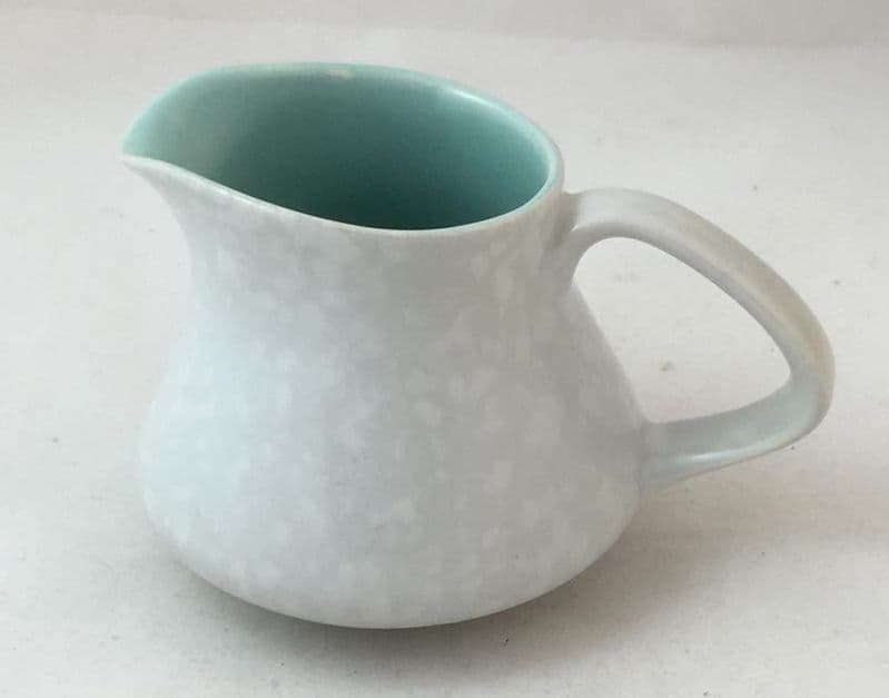Poole Pottery Twintone Ice Green and Seagull Contour Cream Jugs