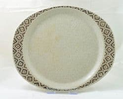 Purbeck Pottery Brown Diamond Oval Dinner Plates