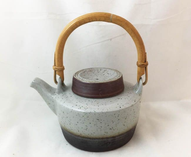 Purbeck Pottery, Portland Pattern, Smaller Tea Pot With Wicker Handle