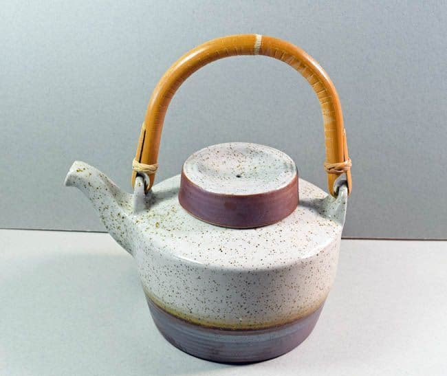 Purbeck Pottery, Portland Pattern, Tea Pot With Wicker Handle