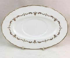 Royal Worcester Gold Chantilly Gravy Boat Saucers