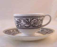 Wedgwood Black Florentine Cups and Saucers (W4312)