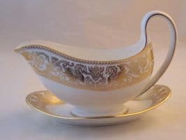 Wedgwood Gold Florentine (W4219) Gravy Boat and Stand.