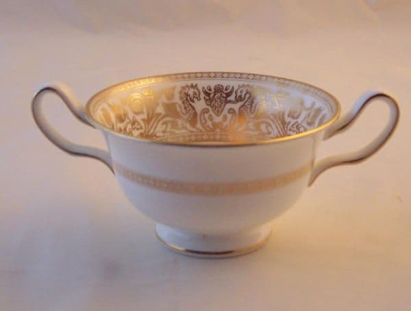 Wedgwood Gold Florentine (W4219) Soup Cups and Saucers