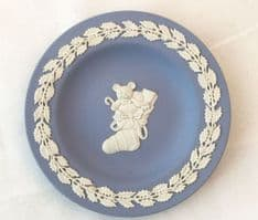 Wedgwood Jasperware Blue Pin Tray, Teddy and Toys in Christmas Stocking.