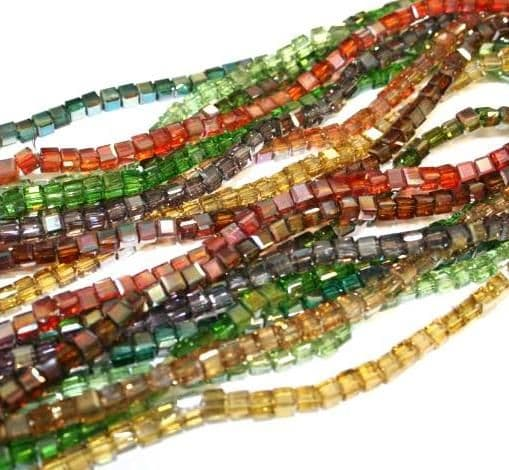 4mm Cube glass beads