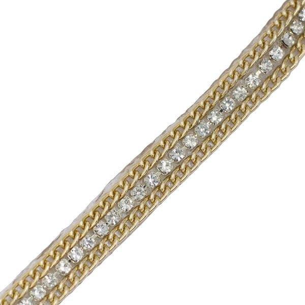 1 metre x 10 mm Clear crystal centre with gold border chain