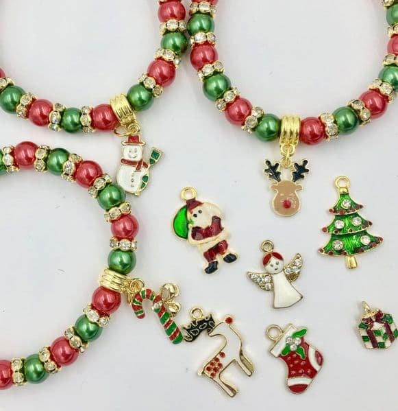 10 piece Christmas charm bracelet kit - red / green / gold CBK010