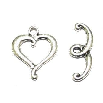 10 x Antique Sliver Hammered Heart Toggle Clasps 25mm - F.04 - WA215 - 1411060