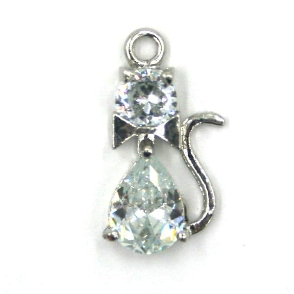 10mm x 18mm Double crystal cat charm