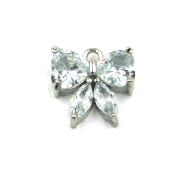 12mm x 12mm Butterfly crystal charm