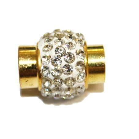 1pce x 15mm*11mm White - clear stone Pave Crystal magnetic clasps -- gold -5mm-03