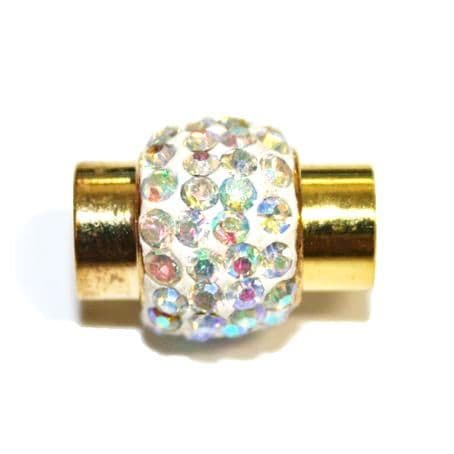 1pce x 17mm*14mm White - clear ab stone Pave Crystal magnetic clasps -- gold - C4002156-7mm-01