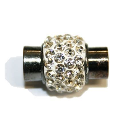 1pce x 17mm*14mm White - clear stone Pave Crystal magnetic clasps -- gun metal - 7mm-03