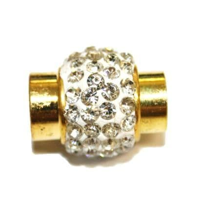 1pce x 18mm*12mm White - clear stone pave crystal magnetic clasps - gold -- C4002136-6mm-03